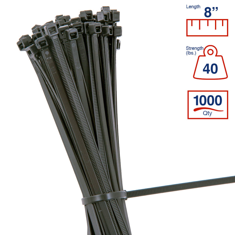 BCT 8 Inch 40 lb Cable Ties - Intermediate Duty Industrial/Home Use - Bag of 1000 - UV Black - UV Zip Ties - Y8400M
