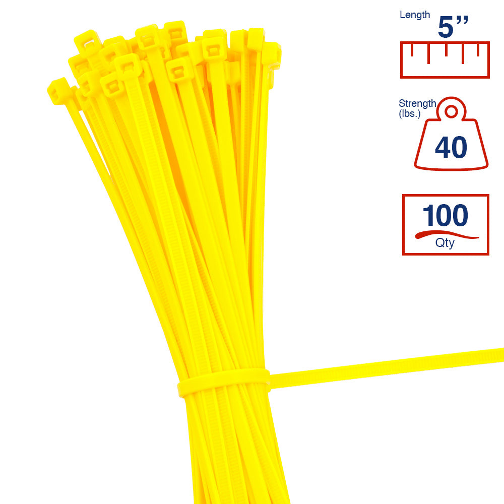 BCT 5 Inch 40 lb Cable Ties - Intermediate Duty Industrial/Home Use - Bag of 100 - Yellow - Zip Ties - Y5404C