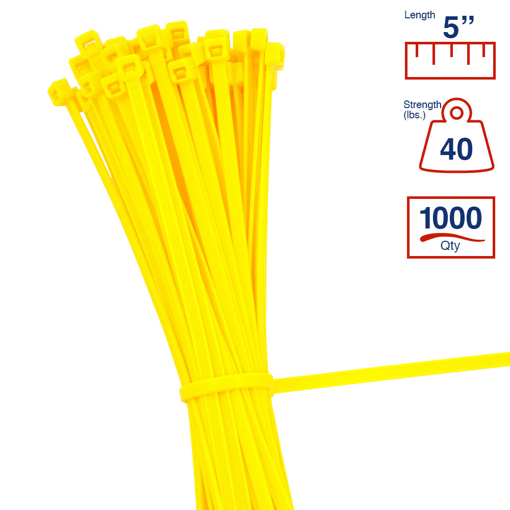 BCT 5 Inch 40 lb Cable Ties - Intermediate Duty Industrial/Home Use - Bag of 1000 - Yellow - Zip Ties - Y5404M