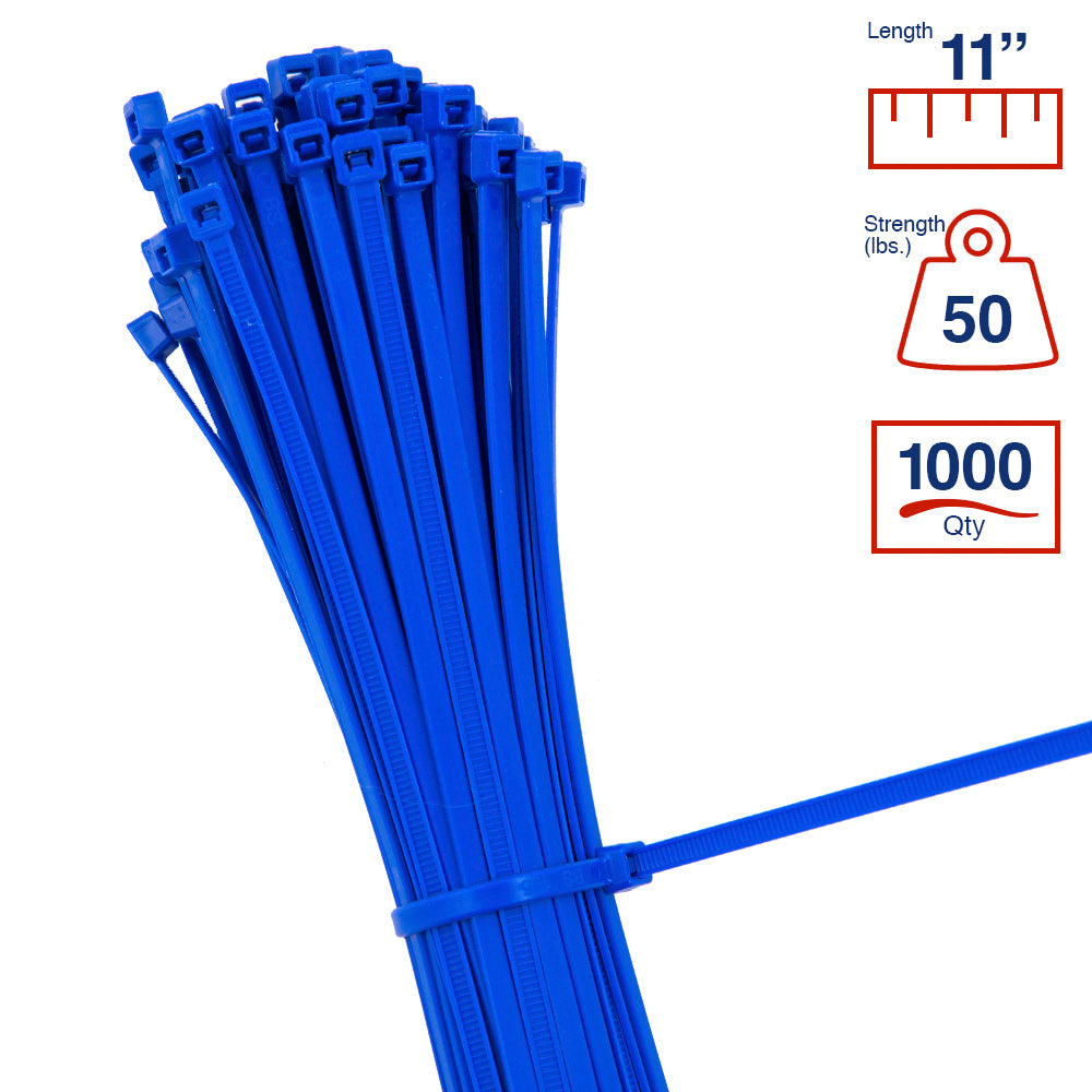 BCT 11 Inch 50 lb Cable Ties - Medium Duty Industrial/Home Use - Bag of 1000 - Blue - Zip Ties - Y11506M