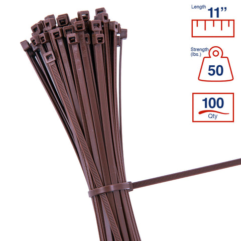 BCT 11 Inch 50 lb Cable Ties - Medium Duty Industrial/Home Use - Bag of 100 - Brown - Zip Ties - Y11501C