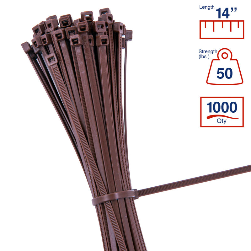 BCT 14 Inch 50 lb Cable Ties - Medium Duty Industrial/Home Use - Bag of 1000 - UV Brown - Zip Ties - Y14501M