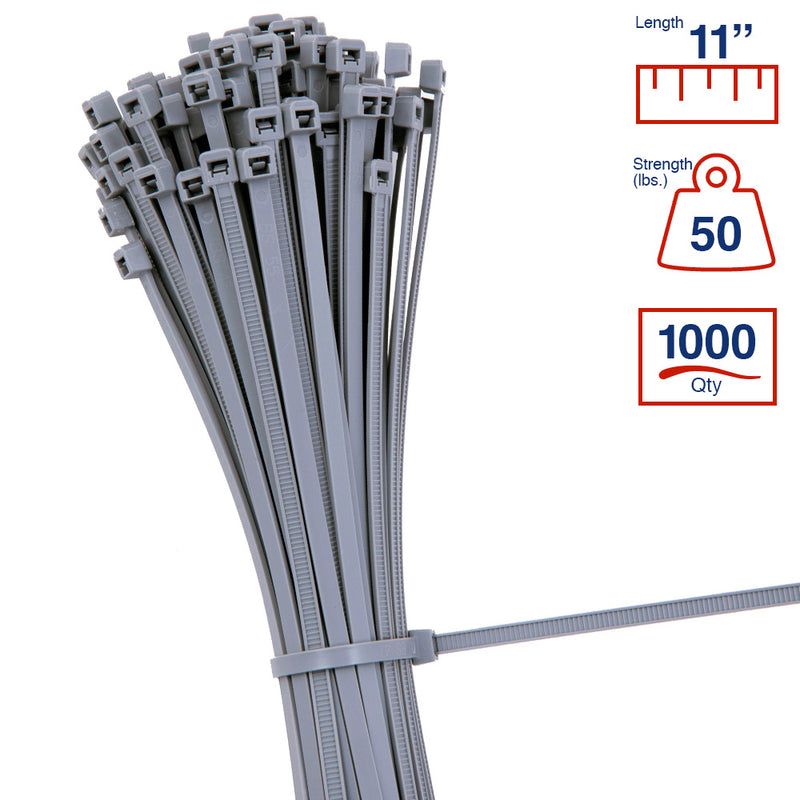 BCT 11 Inch 50 lb Cable Ties - Medium Duty Industrial/Home Use - Bag of 1000 - Gray - Zip Ties - Y11508M