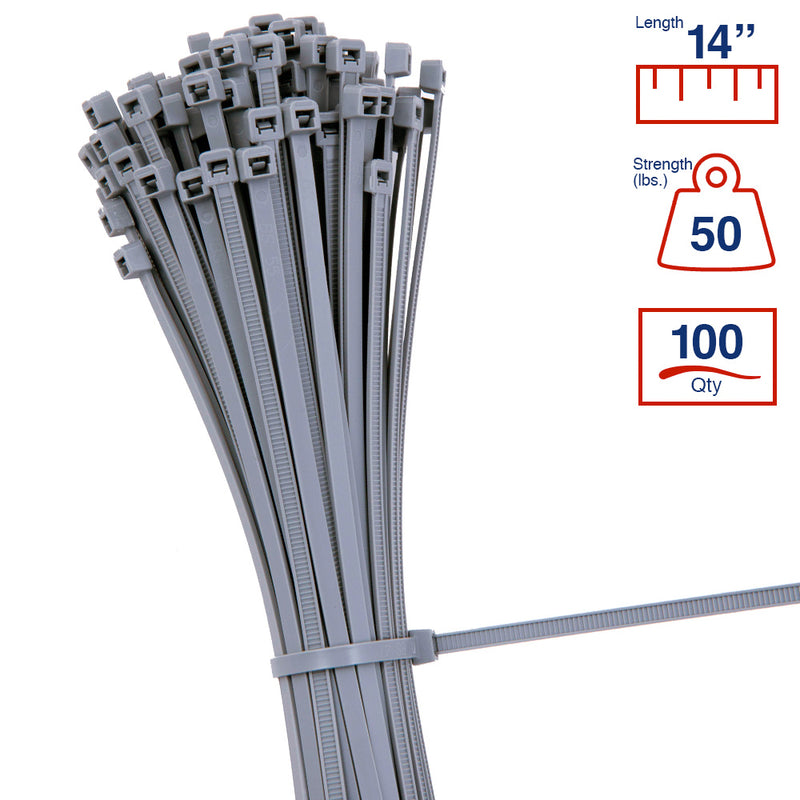 BCT 14 Inch 50 lb Cable Ties - Medium Duty Industrial/Home Use - Bag of 100 - Gray - Zip Ties - Y14508C