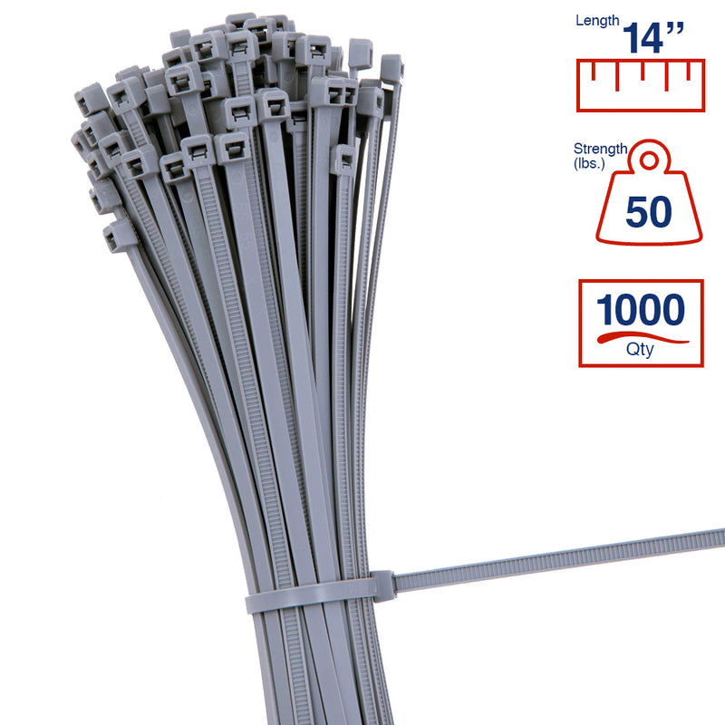 BCT 14 Inch 50 lb Cable Ties - Medium Duty Industrial/Home Use - Bag of 1000 - Multiple Colors