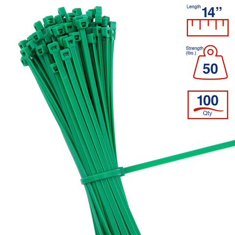BCT 14 Inch 50 lb Cable Ties - Medium Duty Industrial/Home Use - Bag of 100 - Green - Zip Ties - Y14505C