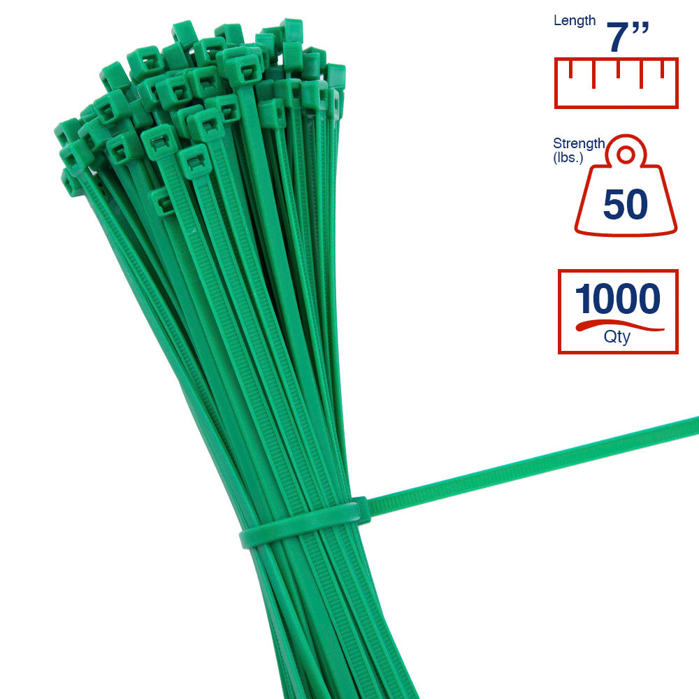 BCT 7 Inch 50 lb Cable Ties - Medium Duty Industrial/Home Use - Bag of 1000 - Green - Zip Ties - Y7505M