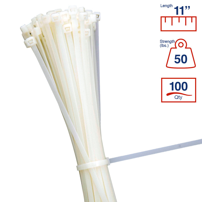 BCT 11 Inch 50 lb Cable Ties - Medium Duty Industrial/Home Use - Bag of 100 - Natural - Zip Ties - Y11509C