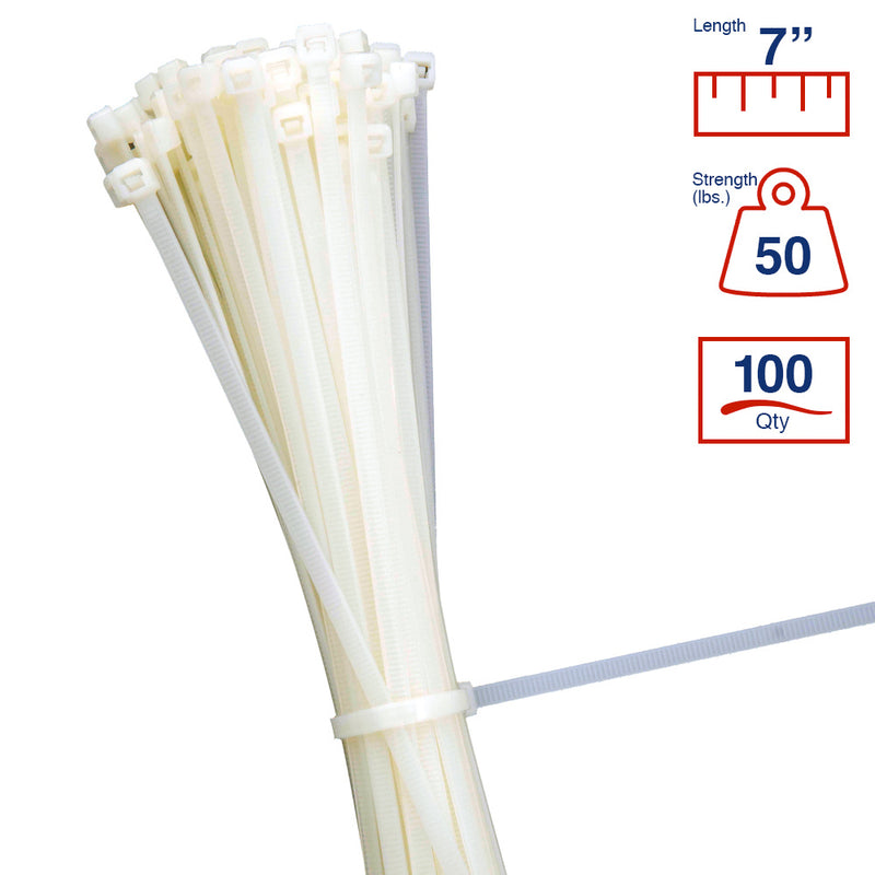 BCT 7 Inch 50 lb Cable Ties - Medium Duty Industrial/Home Use - Bag of 100 - Natural - Zip Ties - Y7509C