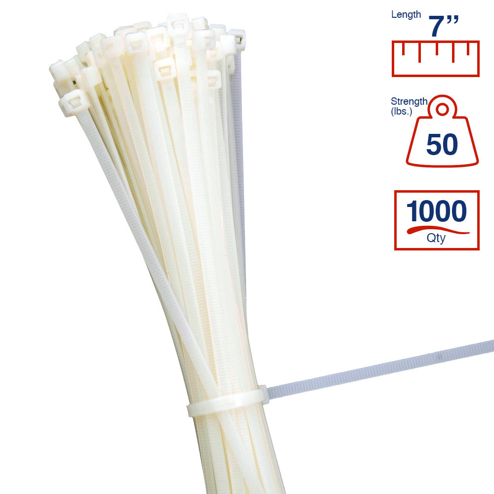BCT 7 Inch 50 lb Cable Ties - Medium Duty Industrial/Home Use - Bag of 1000 - Natural - Zip Ties - Y7509M