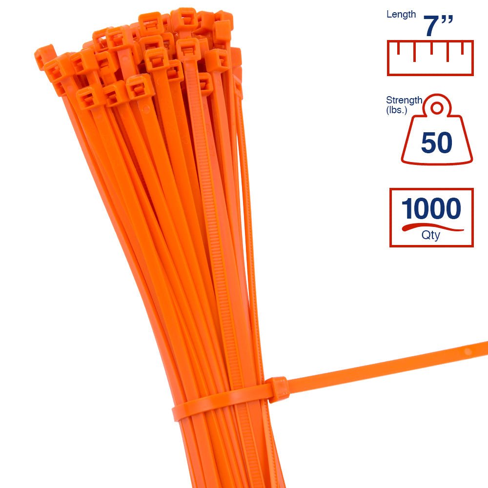 BCT 7 Inch 50 lb Cable Ties - Medium Duty Industrial/Home Use - Bag of 1000 - Orange - Zip Ties - Y7503M
