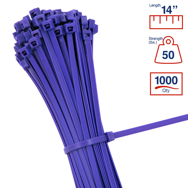 BCT 14 Inch 50 lb Cable Ties - Medium Duty Industrial/Home Use - Bag of 1000 - Purple - Zip Ties - Y14507M