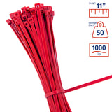 BCT 11 Inch 50 lb Cable Ties - Medium Duty Industrial/Home Use - Bag of 1000 - Red - Zip Ties - Y11502M