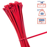 BCT 14 Inch 50 lb Cable Ties - Medium Duty Industrial/Home Use - Bag of 1000 - Red - Zip Ties - Y14502M