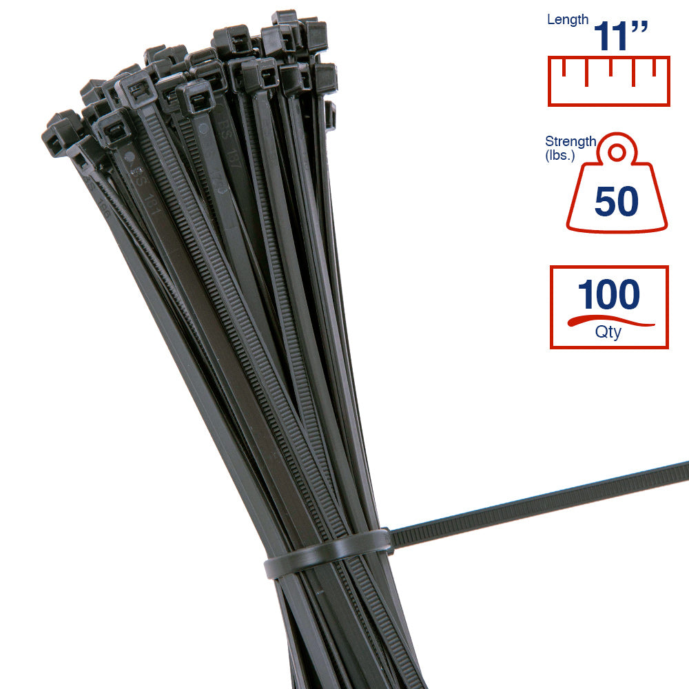 BCT 11 Inch 50 lb Cable Ties - Medium Duty Industrial/Home Use - Bag of 100 - UV Black - UV Zip Ties - Y11500C