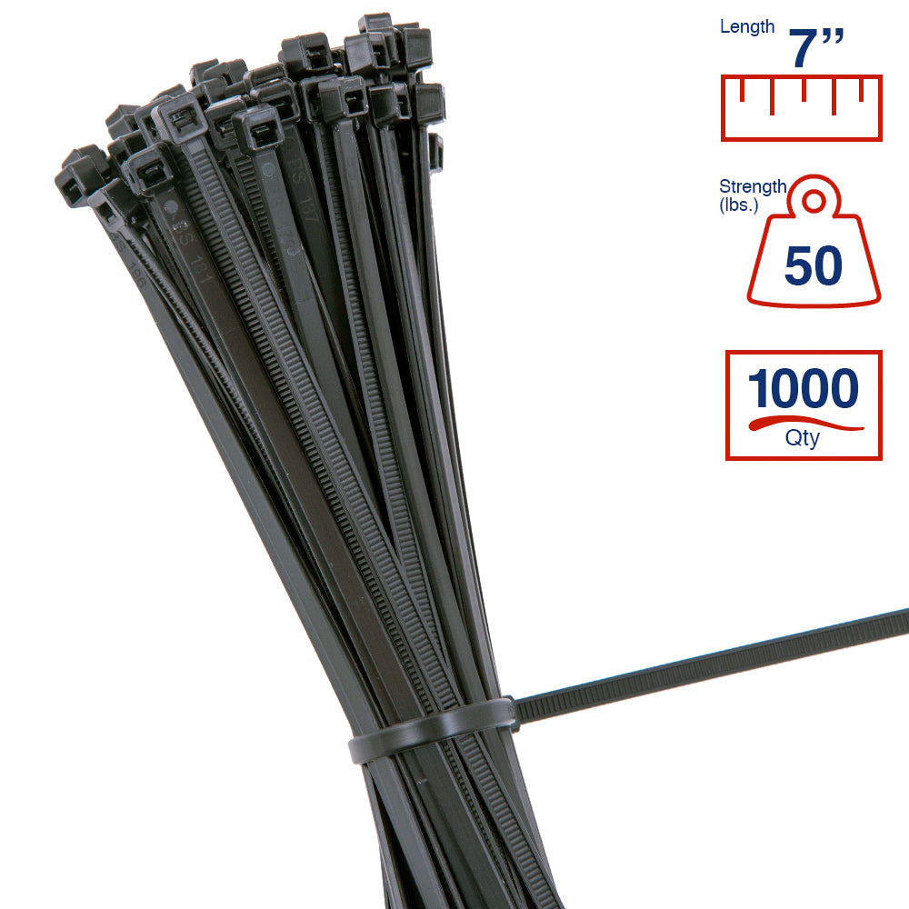 BCT 7 Inch 50 lb Cable Ties - Medium Duty Industrial/Home Use - Bag of 1000 - UV Black - UV Zip Ties - Y7500M