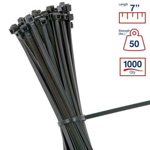 0cb40f916f93 BCT 7 Inch 50 lb Cable Ties - Medium Duty Industrial/Home Use - Bag