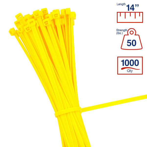 BCT 14 Inch 50 lb Cable Ties - Medium Duty Industrial/Home Use - Bag of 1000 - Yellow - Zip Ties - Y14504M