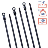BCT 14 Inch 50 lb Mounting Head Cable Ties #10 Hole - Medium Duty Industrial/Home Use - Bag of 100 - UV Black - Zip Ties - Y1450MH0C