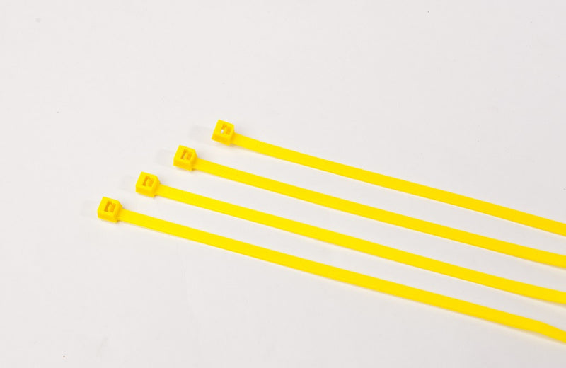 BCT 7 Inch 50 lb Cable Ties - Medium Duty Industrial/Home Use - Bag of 100 - Yellow - Zip Ties - Y7504C