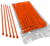 BCT 8 Inch 40 lb Cable Ties - Intermediate Duty Industrial/Home Use - Bag of 100 - Orange - Zip Ties - Y8403C