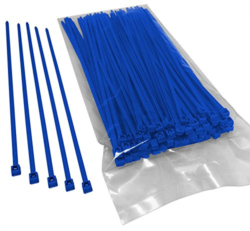 BCT 8 Inch 40 lb Cable Ties - Intermediate Duty Industrial/Home Use - Bag of 100 - Blue - Zip Ties - Y8406C