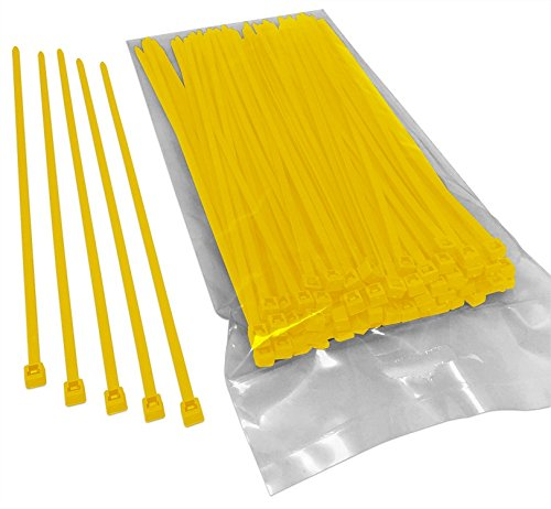 BCT 8 Inch 40 lb Cable Ties - Intermediate Duty Industrial/Home Use - Bag of 100 - Yellow - Zip Ties - Y8404C