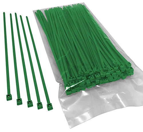 BCT 8 Inch 40 lb Cable Ties - Intermediate Duty Industrial/Home Use - Bag of 100 - Green - Zip Ties - Y8405C