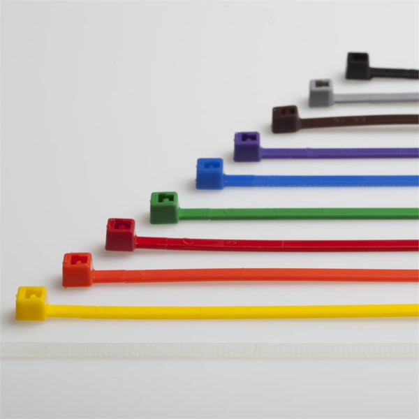 "8"" 40LB Multi-Color Cable Tie Pack (1 - 100 pack of each color - 10 different colors)"