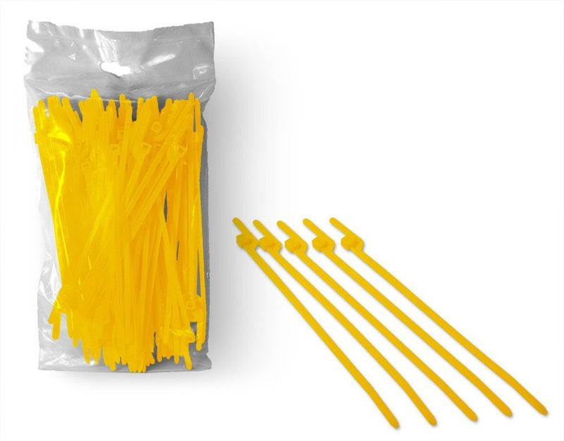 BCT Easy Release 6 Inch Tear Away Cable Ties - Bag of 100 Bag - Yellow - Zip Ties - Y64TTC