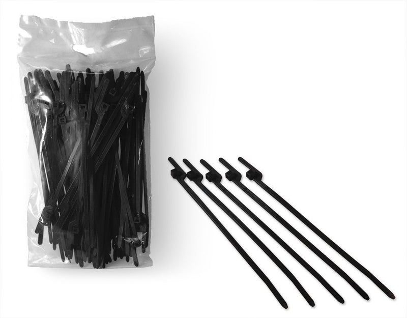 BCT Easy Release 6 Inch Tear Away Cable Ties - Bag of 100 Bag - Black - Zip Ties - Y60TTC