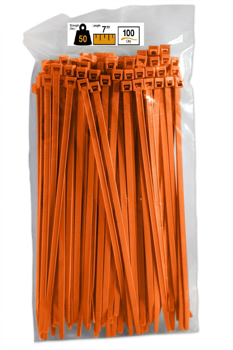BCT 7 Inch 50 lb Cable Ties - Medium Duty Industrial/Home Use - Bag of 100 - Orange - Zip Ties - Y7503C