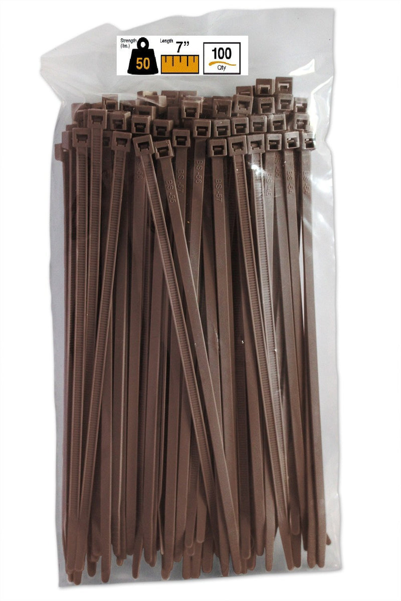 BCT 7 Inch 50 lb Cable Ties - Medium Duty Industrial/Home Use - Bag of 100 - Brown - Zip Ties - Y7501C