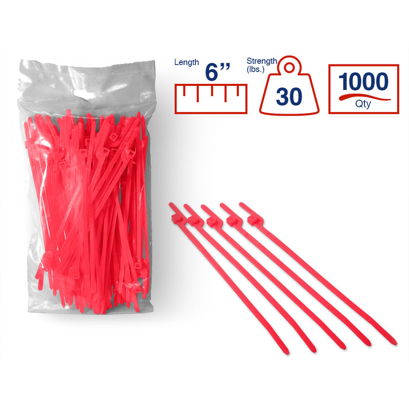 BCT Easy Release 6 Inch Tear Away Cable Ties - Bag of 1000 - Pink - Zip Ties - Y612TTM