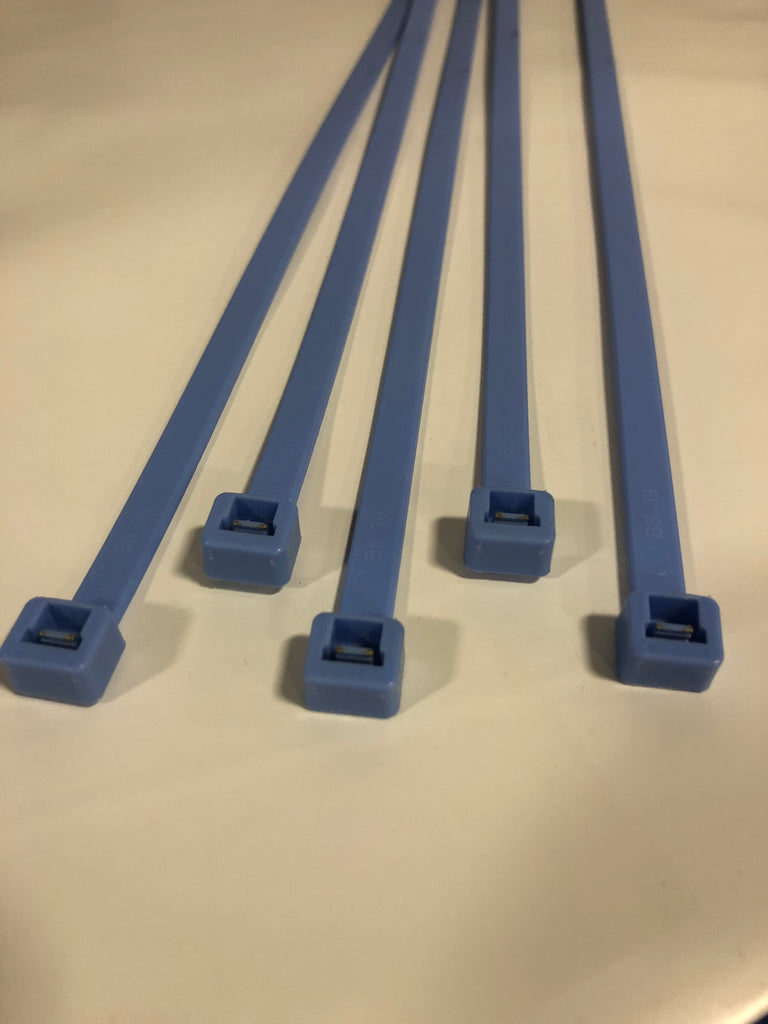 BCT 14 Inch 120 lb ALL WEATHER Cable Ties - Light Heavy Duty   Industrial/Home Use - Indoor/Outdoor - Bag  of 100 - Light/medium Blue - Zip Ties - Y14120AWC