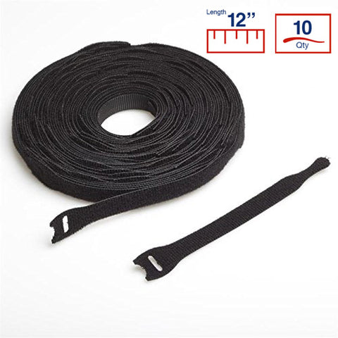 BCT 12 Inch  VELCRO Brand Cable Ties - 10 per Roll - Black - Zip Ties - Y12VCT-10