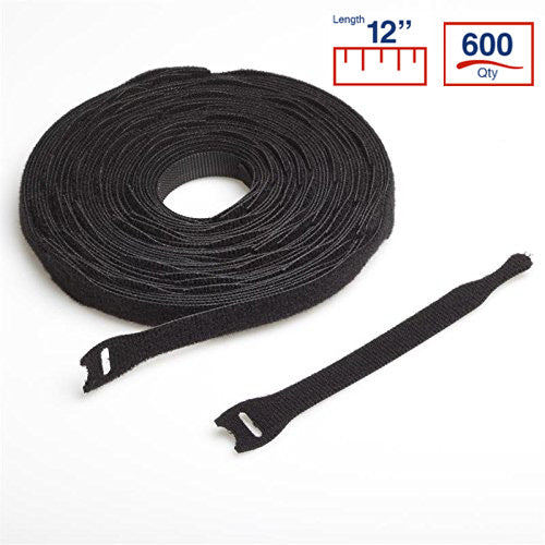 VELCRO® Brand BCT 12 Inch Cable Ties - 600 per Spool - Black - Zip Ties - Y12VCT-600