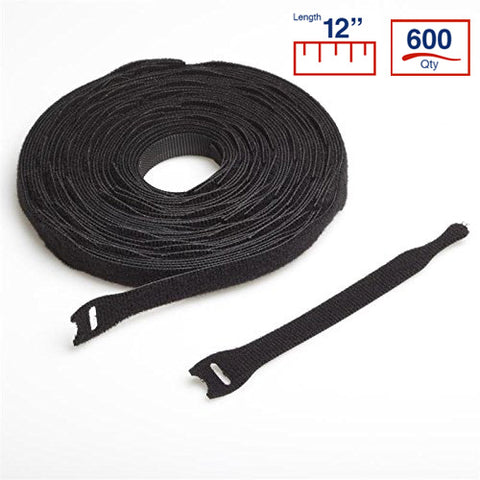 BCT 12 Inch  VELCRO Brand Cable Ties - 600 per Spool - Black - Zip Ties - Y12VCT-600