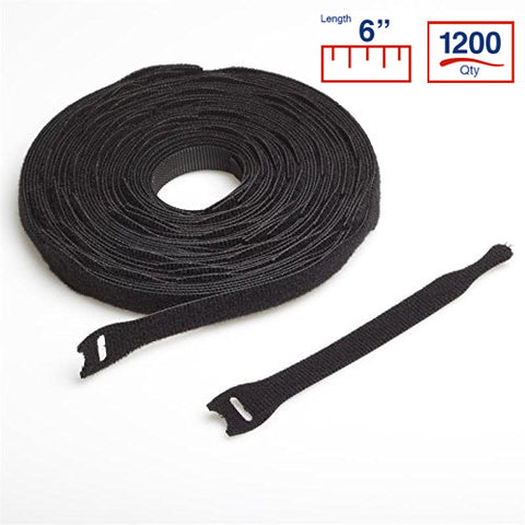 VELCRO® Brand BCT 6 Inch Cable Ties - Spool of 1200 - Black - Zip Ties - Y6VCT-1200