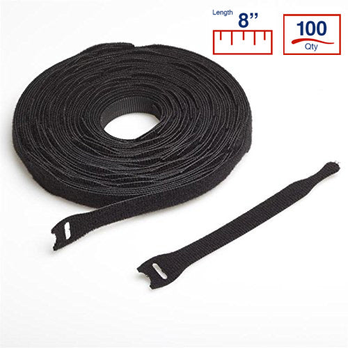 VELCRO® Brand 8 Inch Cable Ties - 100 per Puck - Black - VELCRO® Brand Zip Ties - YT8VCT