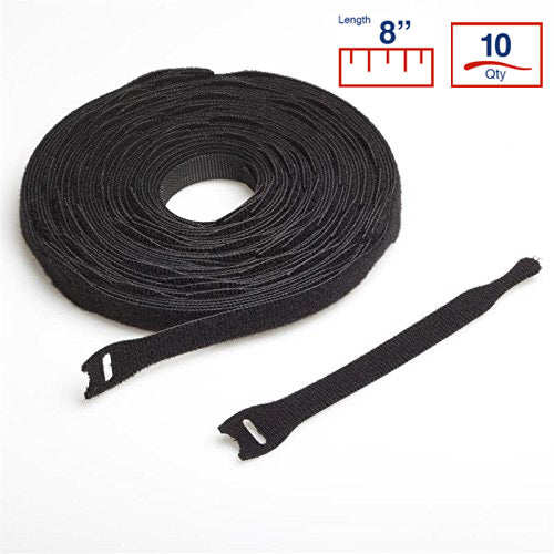 VELCRO® Brand 8 Inch Cable Ties - 10 per Roll - Black - VELCRO® Brand Zip Ties - Y8VCT-10