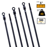 BCT 5 Inch 40 lb Mount Head Cable Ties #10 Hole - Bag of 100 - UV Black - Y540MH0C