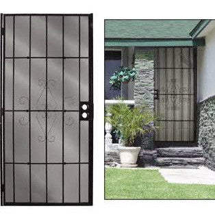 "Home or apartment security door metal black 36""x80"" with hinges"