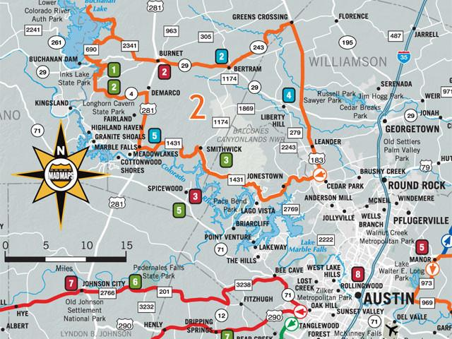 GOTAUS1 - Get Outta Town Scenic Road Trips Map - Austin - MAD Maps