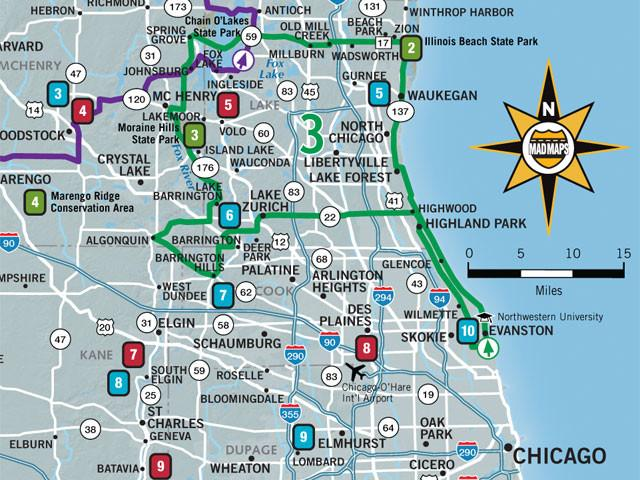 GOTCHI1 - Get Outta Town Scenic Road Trips Map - Chicago - MAD Maps