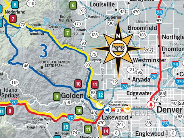 GOTDEN1 - Scenic Road Trips Map - Denver - MAD Maps
