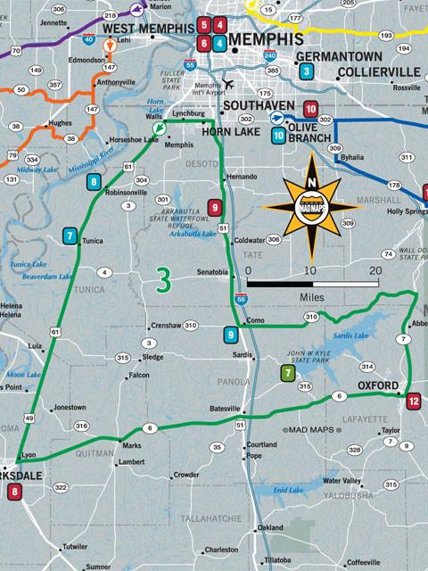 GOTMEM1 - Get Outta Town Scenic Road Trips Map - Memphis - MAD Maps