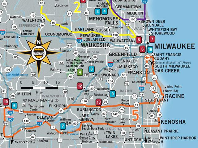 MAD Maps GOTMKE1 Get Outta Town Scenic Road Trips Map Milwaukee
