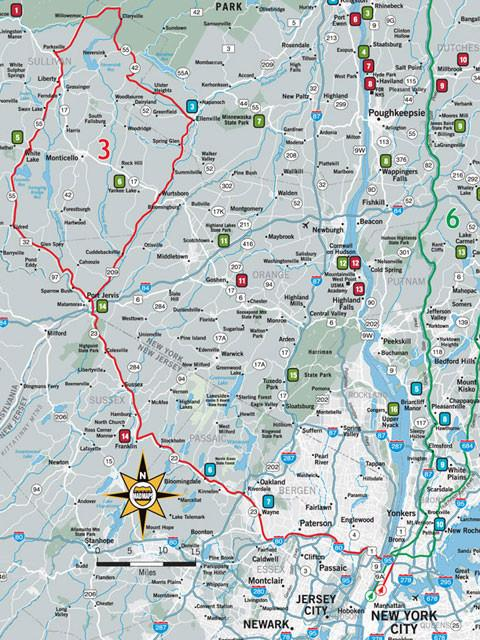 GOTNYC1 - Get Outta Town Scenic Road Trips Map - New York - MAD Maps