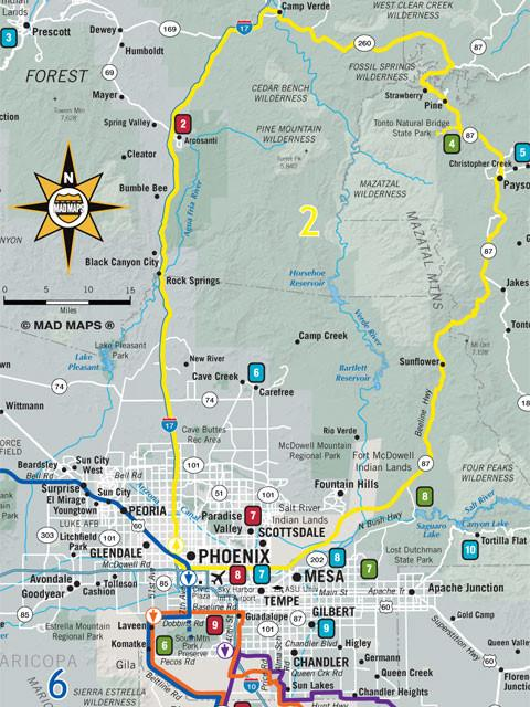 GOTPHX1 - Get Outta Town Scenic Road Trips Map - Phoenix - MAD Maps